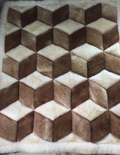 "New Alpaca Fur Rug. New  Brown White Alpaca Rug. ""Y"" Design-Geometric - Alpaca Retail"