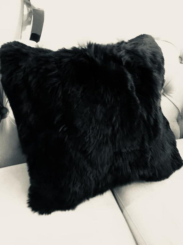 20″ x 20″  Black Alpaca Suri fur Pillow cover - Alpaca Retail