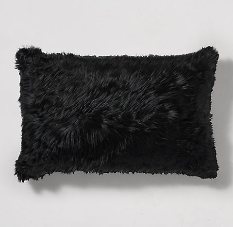 11″ x 20″ Black Alpaca Fur Suri  Pillow cover - Alpaca Retail