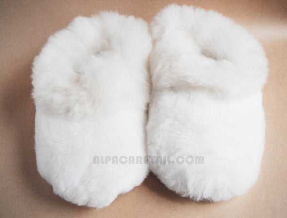 Real White HEAVY Super Baby Alpaca Fur Slippers- Real Alpaca Huacaya Fur-  Handmade Peruvian Fuzzy  Slippers- Special gift - Alpaca Retail