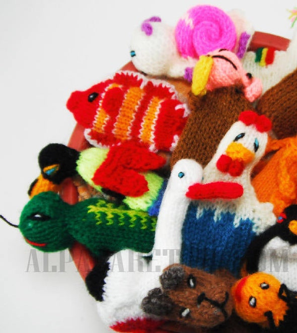 5 PACK 10 PACK Wild and Farms Animals Hand Knitted Finger Puppets - Educational finger puppets made by Peruvian Artisans - Alpaca Retail