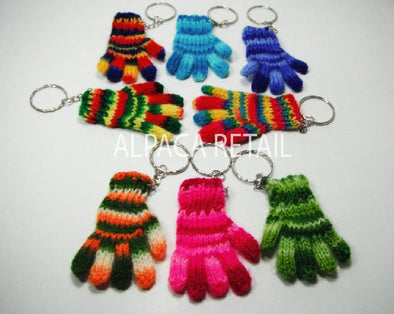 3 PACK 6 PACK Tiny gloves Keychain ethnic decoration gift bag accessories, Andean Collectible Handcrafted Miniature Figurine - Alpaca Retail