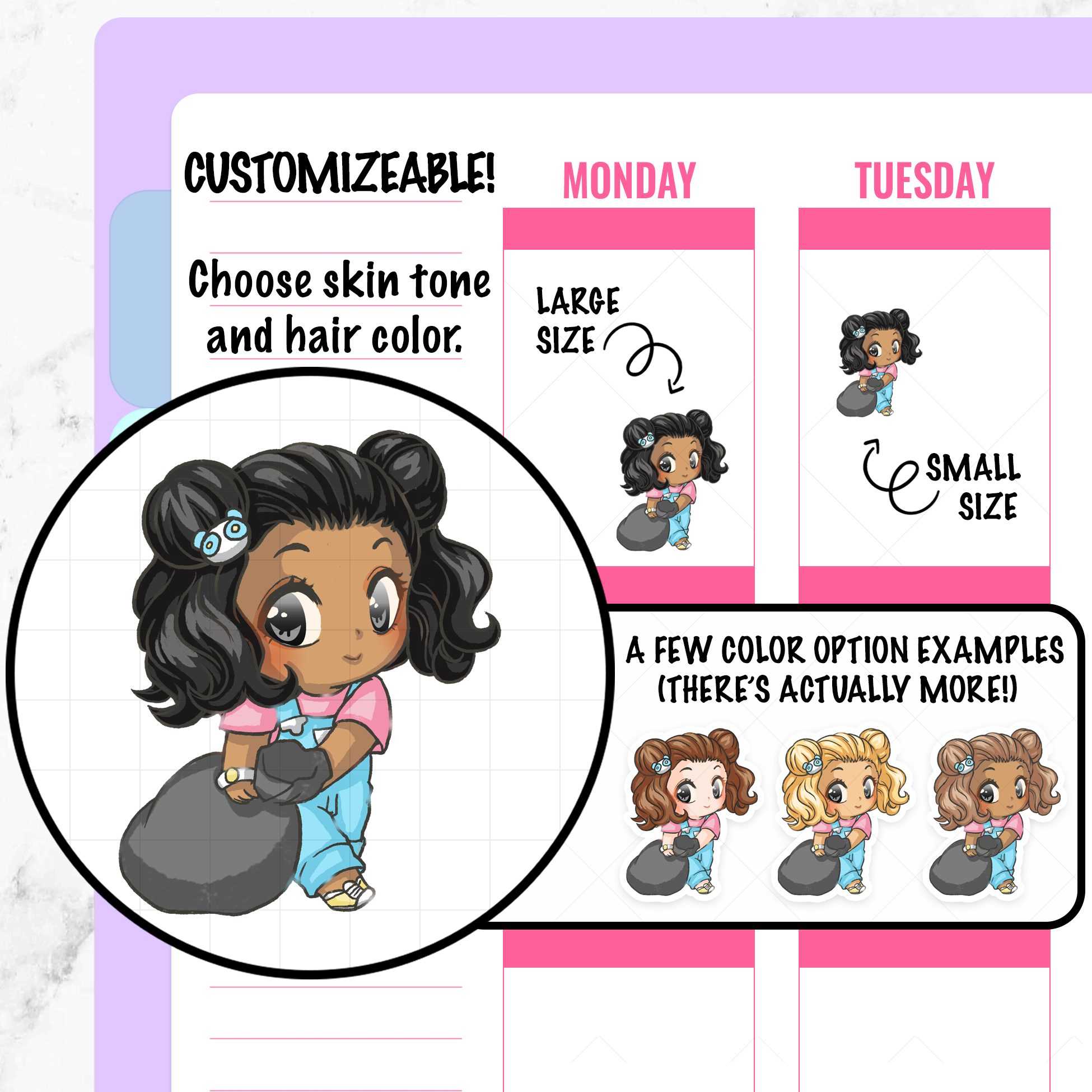 Pandora Trash Day Planner Stickers