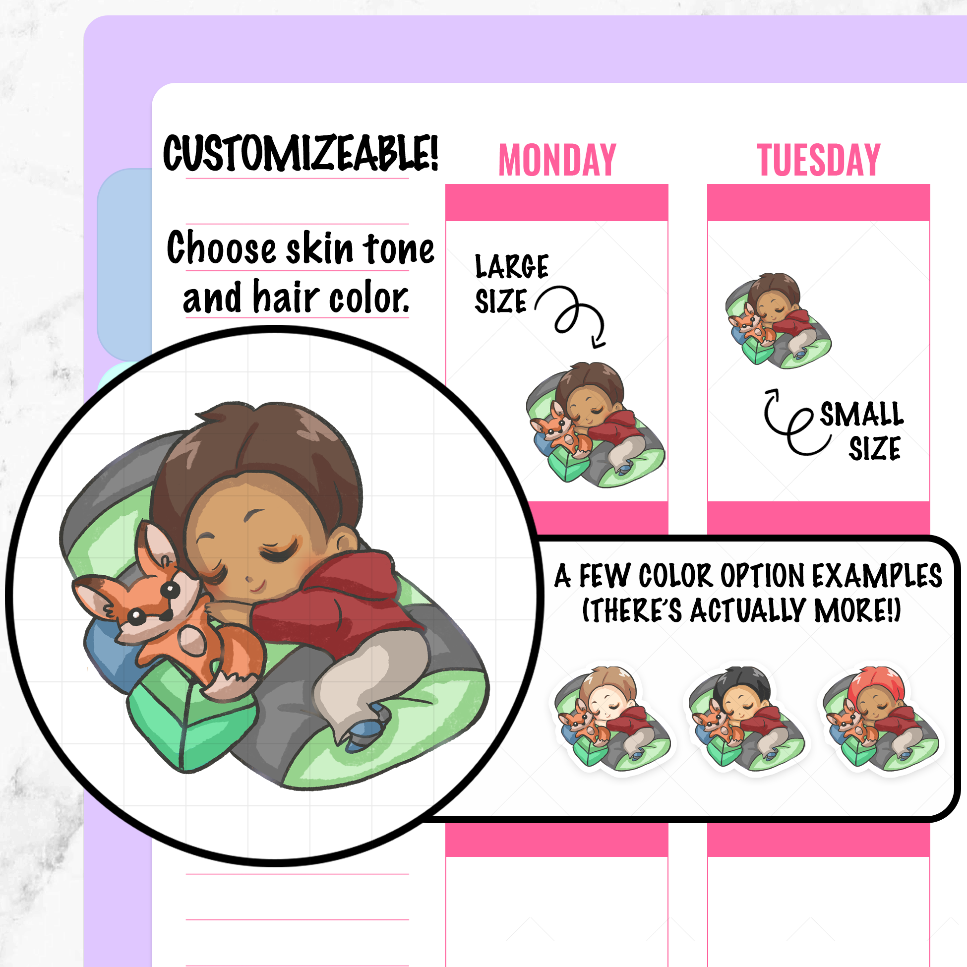 Parker Sleeping Planner Stickers
