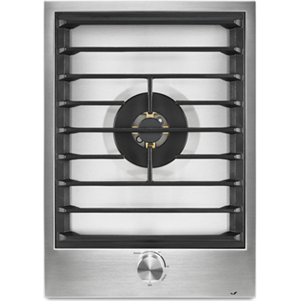 "15"" 2 Burner Gas Cooktop, 15K Dual Stacked Power Burner, 15K Burner, Brass Burners, White Led Backlit Knobs, Single Point Electronic Ignition / Re-Ignition, Low Profile"