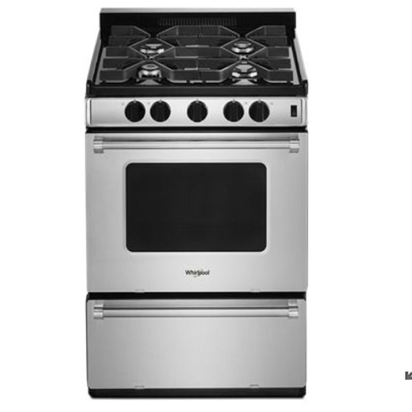 "WHIRLPOOL 24"" GAS FREESTANDING RANGE, 4 COOKTOP BURNERS"