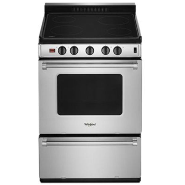 "WHIRLPOOL 24"" ELECTRIC FREESTANDING RANGE,CERAN,  4 ELEMENT COOKTOP"