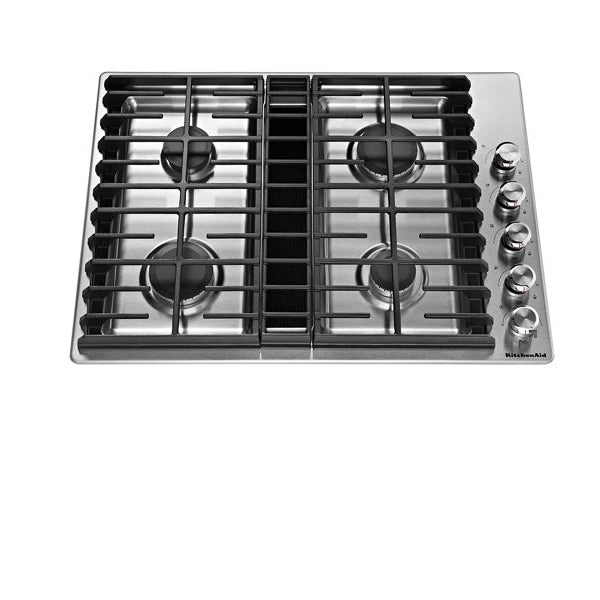 "30"" Gas Downdraft Knob Cooktoop. Stainless Steel"