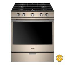5.8 Cu. Ft. Smart Contemporary Handle Slide-in Gas Range with EZ-2-Lift? Hinged Cast-iron Grate