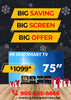 "Exculsive Offer on 75"" Smart 4K TV BIG SALE"