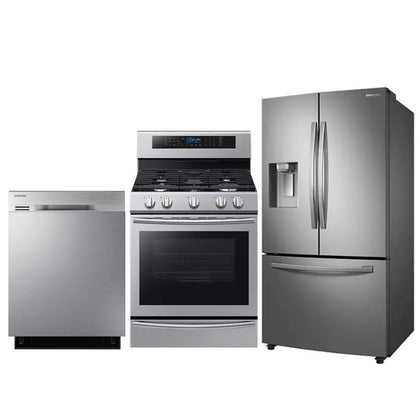 SAMSUNG French Door Refrigerator with Twin Cooling Plus& x2122; and Gas Range, 5.8 cu.ft and Dishwasher with Stainless Steel Tub