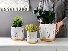 Load image into Gallery viewer, Golden Ceramic Marble Plant /Flower Pot With Tray - Home Hunt