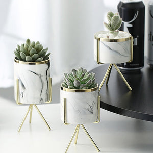 Marble Ceramic Pot Plant with Stand - Home Hunt