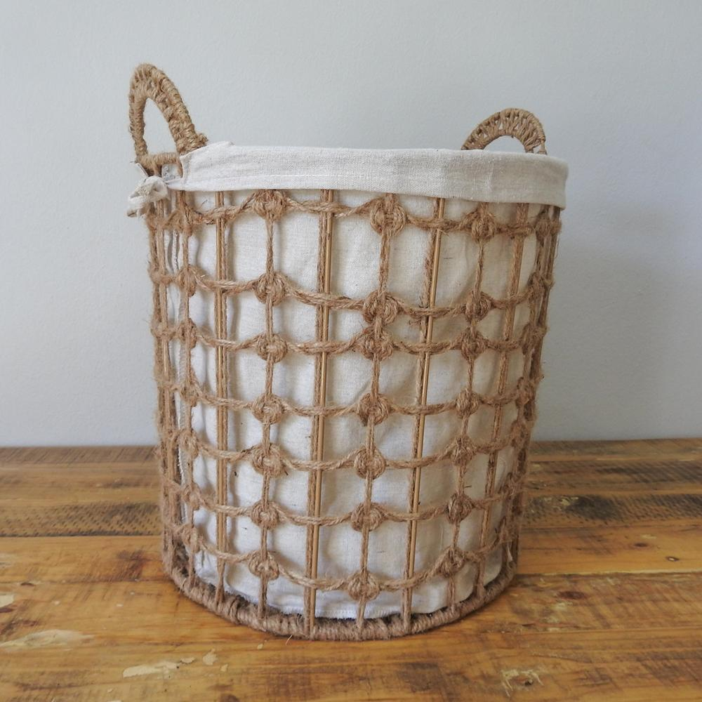 Basket - Natural wire basket with fabric inner