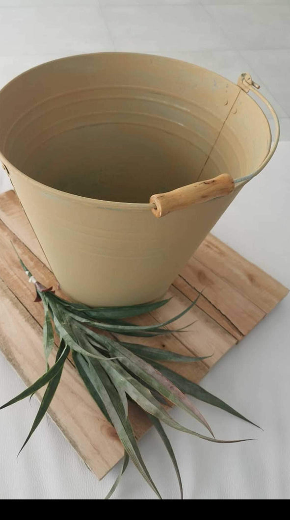 Bucket - Chalk Painted Metal Bucket
