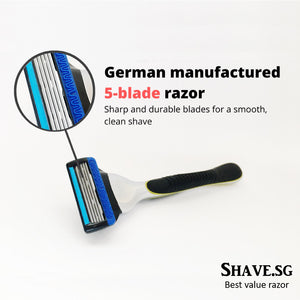 Shave.sg Premium Shaver Kit (includes 4 refills), German-Manufactured Blades, Free Shipping to Singapore