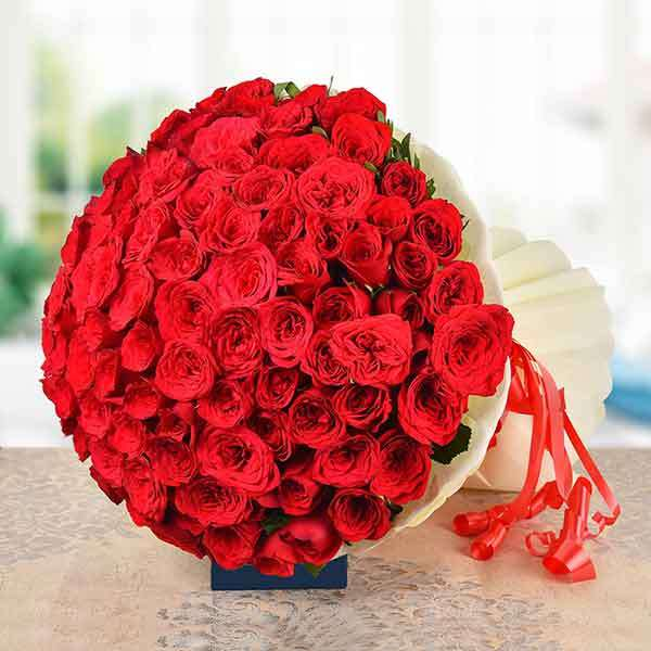 100 Red Romance Roses
