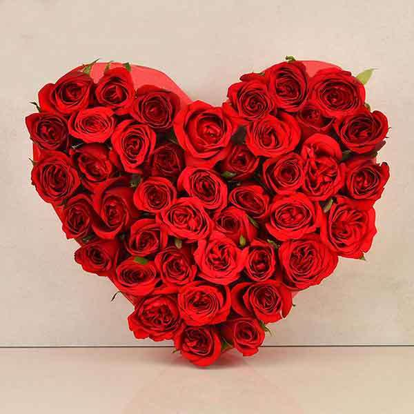 35 Red Rose Heart Shape Arrangement