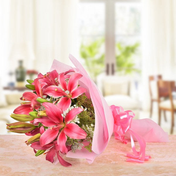 6 Pink Asiatic Lilies