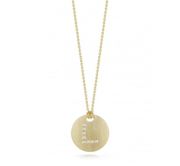 "TINY TREASURES DIAMOND ""L"" DISC NECKLACE - Tiny Treasures -  Necklace - Ora by D'Amore Jewelers"