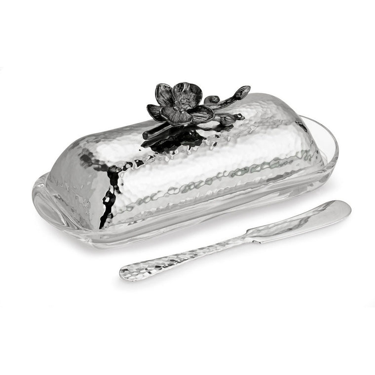Black Orchid Butter Dish w/ Knife