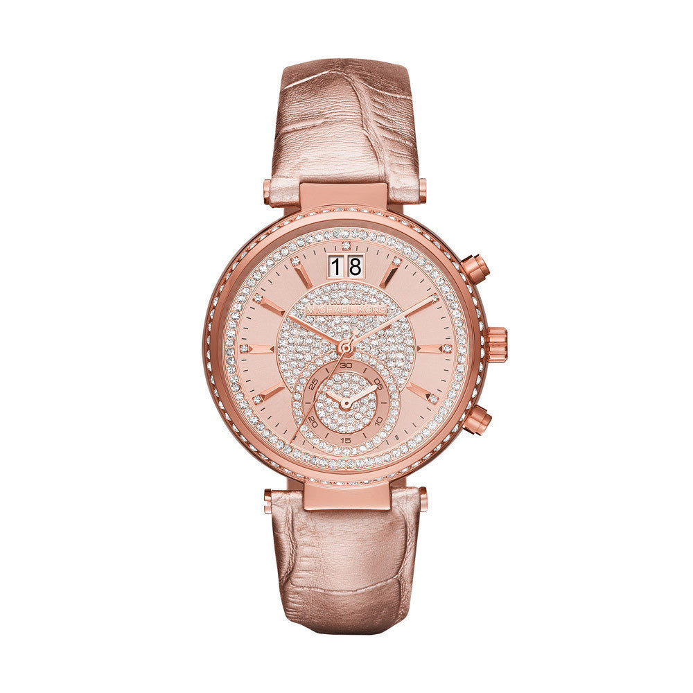 Michael Kors Sawyer Rose Gold-Tone And Leather Watch - michael kors -  Watches - Ora by D'Amore Jewelers