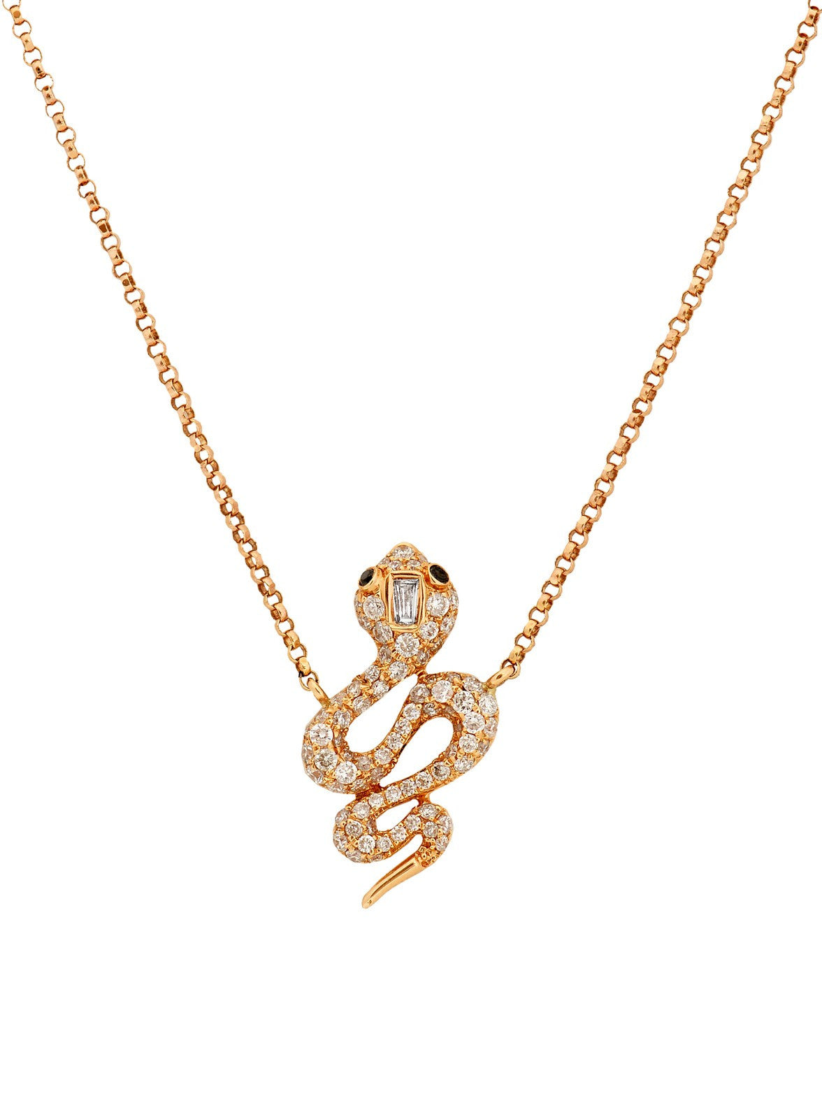 Rose Gold Diamond Snake Pendant Necklace - Ora by D'Amore Jewelers -  Necklace - Ora by D'Amore Jewelers