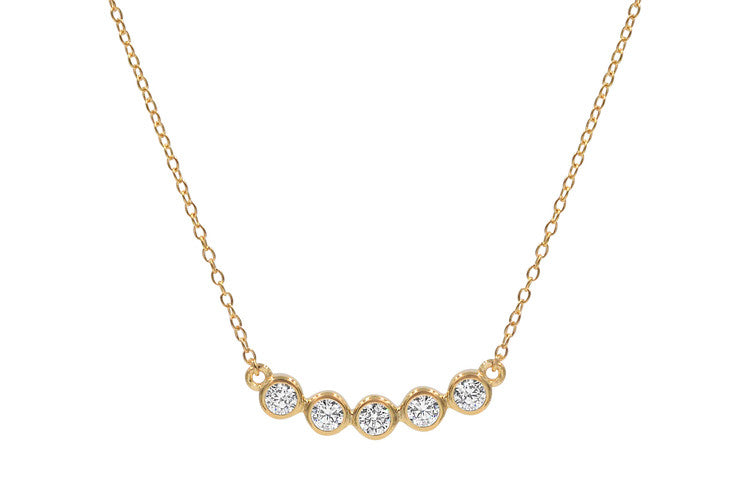5 Stone Bar Necklace - Gold
