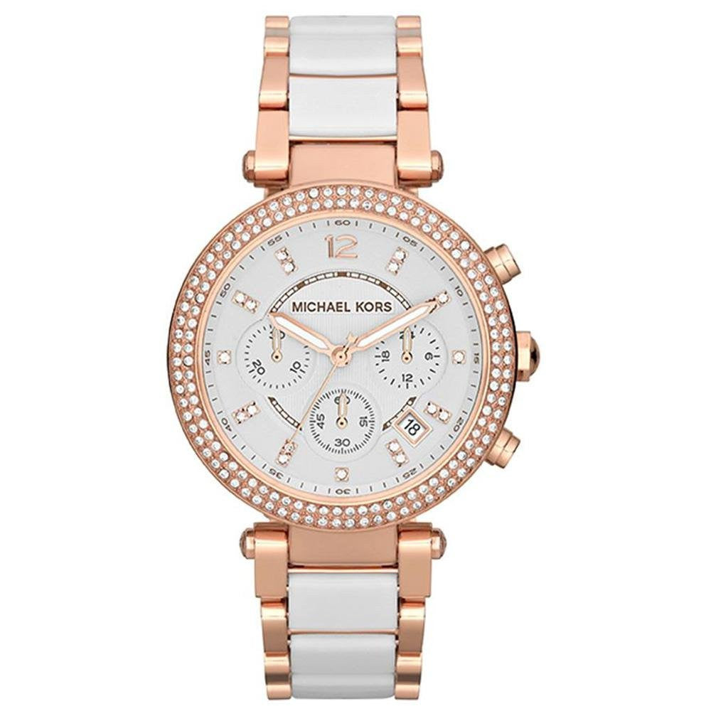Michael Kors Chronograph Parker White Acetate and Rose Gold-Tone Stainless Steel Bracelet - michael kors -  Watches - Ora by D'Amore Jewelers