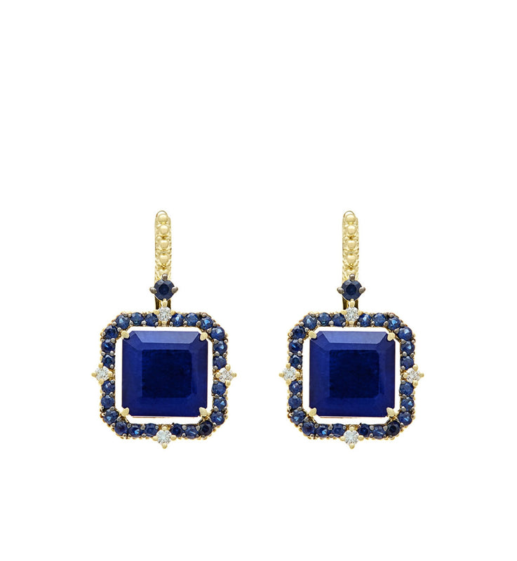 Lila Asscher Cut Lapis and Rock Crystal Quartz Drop Earrings - Judith Ripka -  Earring - Ora by D'Amore Jewelers - 1