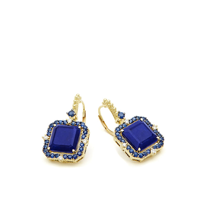 Lila Asscher Cut Lapis and Rock Crystal Quartz Drop Earrings - Judith Ripka -  Earring - Ora by D'Amore Jewelers - 2