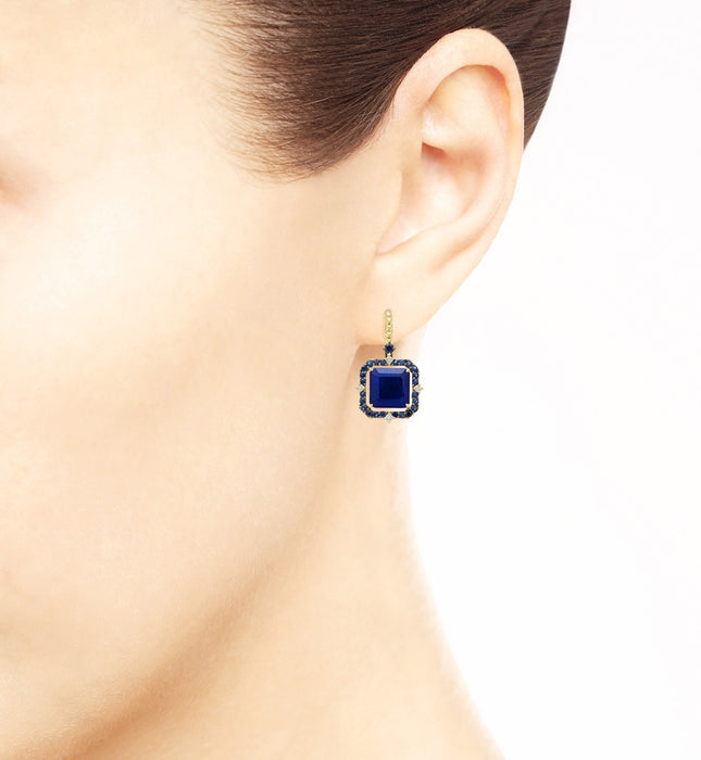 Lila Asscher Cut Lapis and Rock Crystal Quartz Drop Earrings - Judith Ripka -  Earring - Ora by D'Amore Jewelers - 3