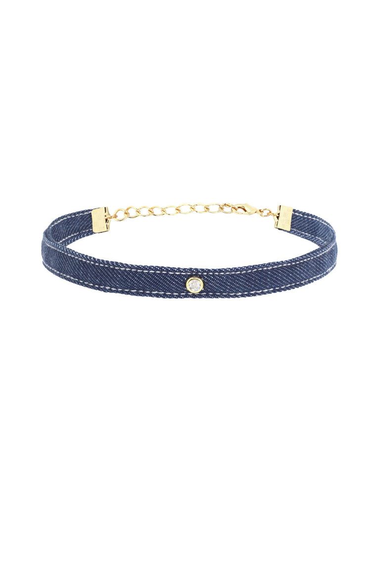 The Denim Blues Choker in Denim and Gold