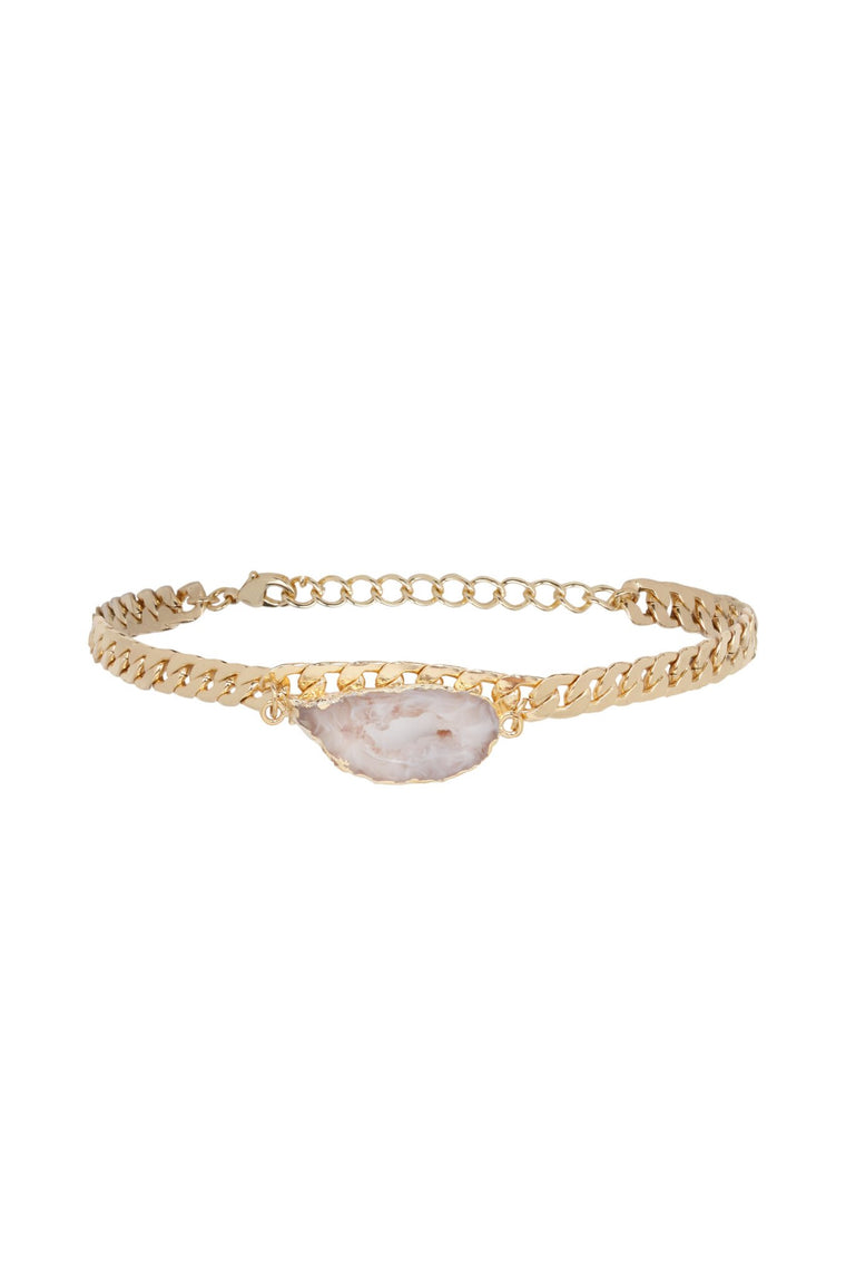 Stone in Hand Choker in Light Pink and Gold