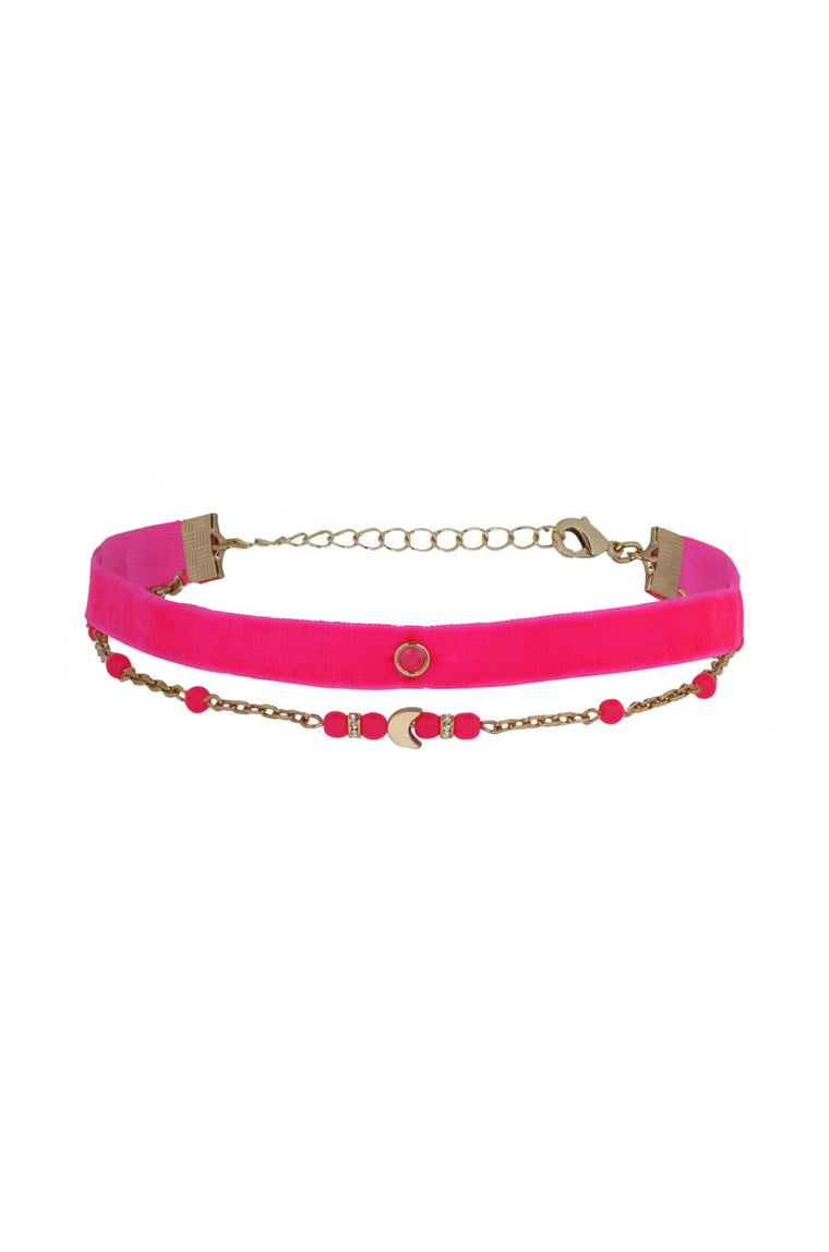 Neon Dreams Choker Set in Pink and Gold