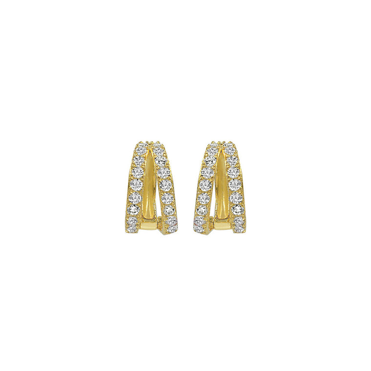 Double Huggie Earrings - Gold