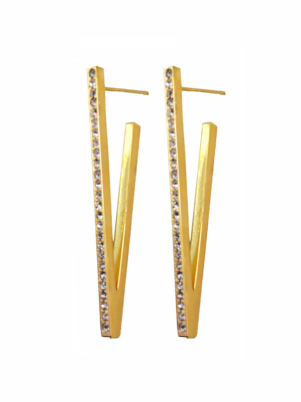 Claire Large Yellow Gold V Earrings, Earring , Paige Novick - Ora by D'Amore Jewelers