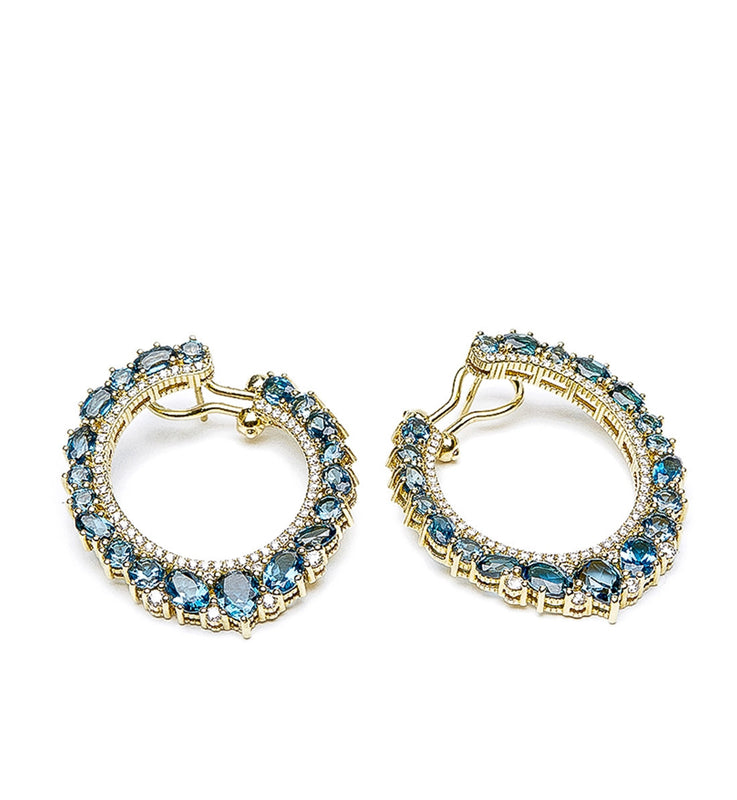 D'Orsay London Blue Topaz Hoop Earrings, Earring, Judith Ripka - Ora by D'Amore Jewelers