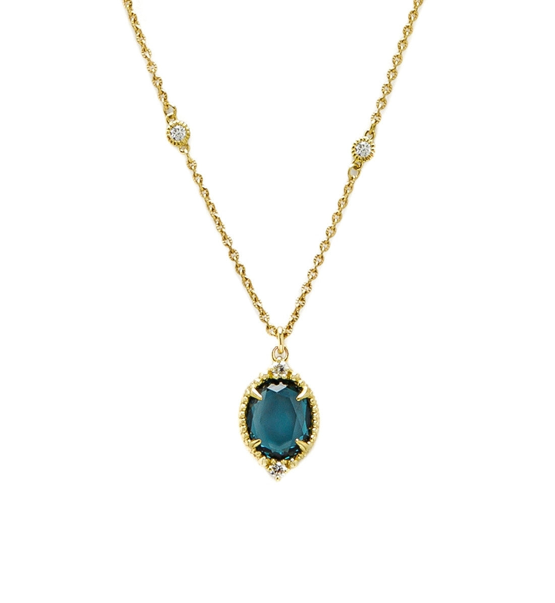 La Petite London Blue Spinel Oval Pendant Necklace - Judith Ripka -  Necklace - Ora by D'Amore Jewelers - 1