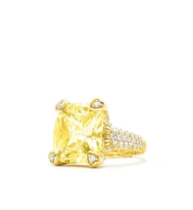 Lola Canary Crystal Ring With Pave Diamonds, , Ring, Judith Ripka, D'Amore Jewelers  - 1