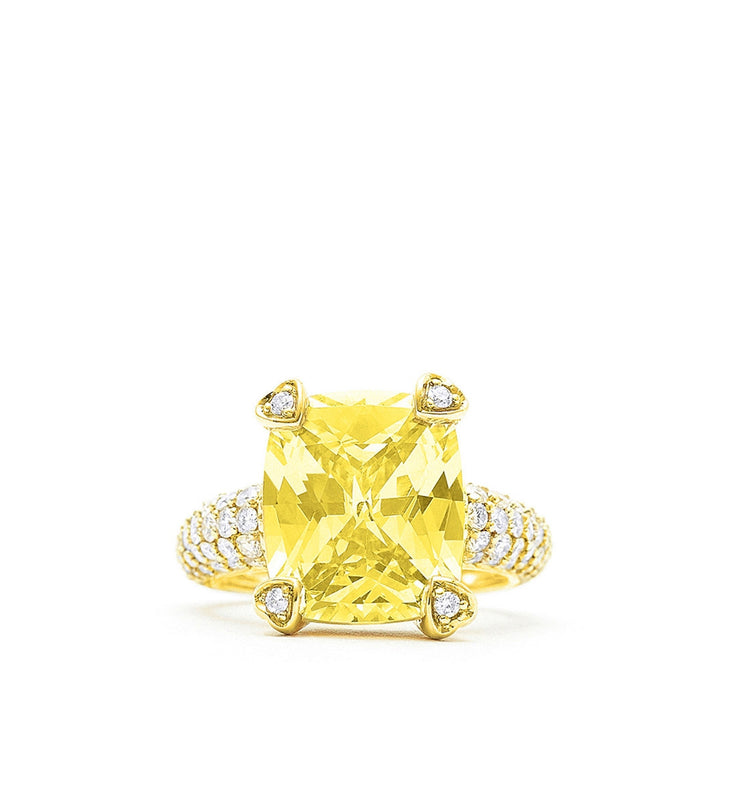 Lola Canary Crystal Ring With Pave Diamonds, , Ring, Judith Ripka, D'Amore Jewelers  - 3