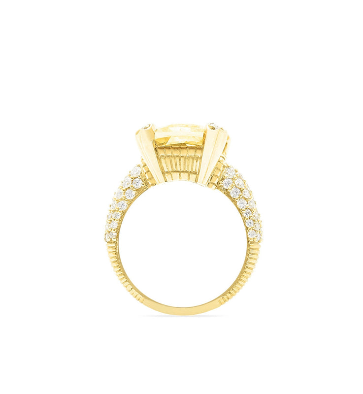 Lola Canary Crystal Ring With Pave Diamonds, , Ring, Judith Ripka, D'Amore Jewelers  - 4
