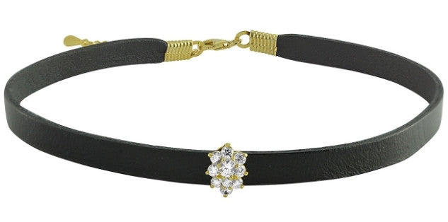 Lily Leather Choker - Gold