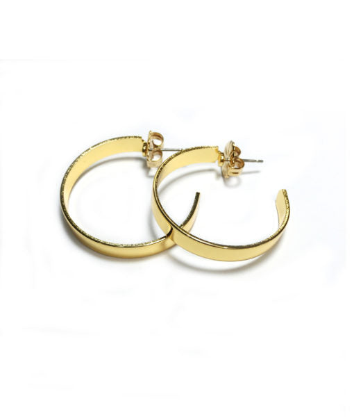 Small High Shine Flat Hoops