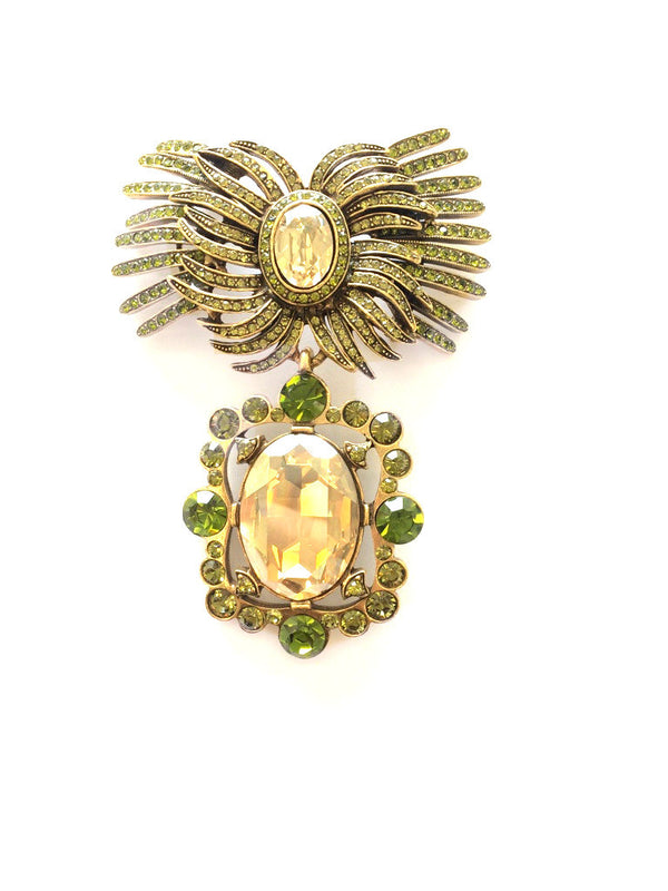 Pear Cut Crystal Brooch - Oscar de la Renta -  Pin - Ora by D'Amore Jewelers