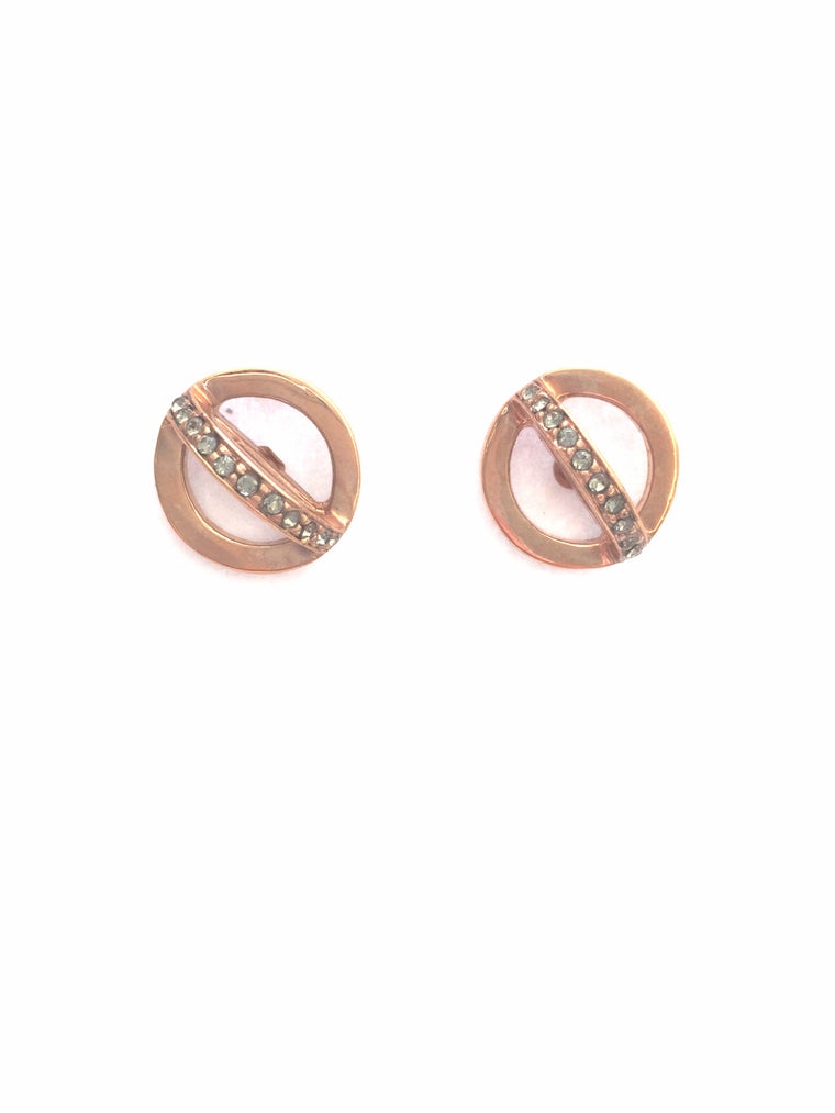 Rose Gold Open Circle Pave Studs