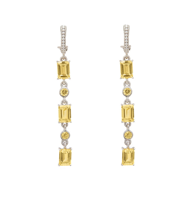 Lafayette Canary Crystal Triple Baguette Hanging Earrings, Earring, judith ripka - Ora by D'Amore Jewelers