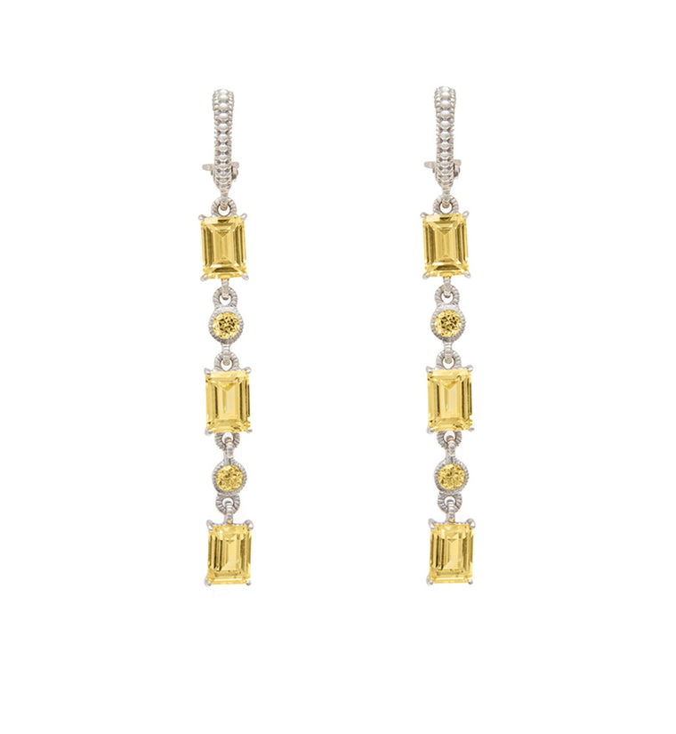 Lafayette Canary Crystal Triple Baguette Hanging Earrings