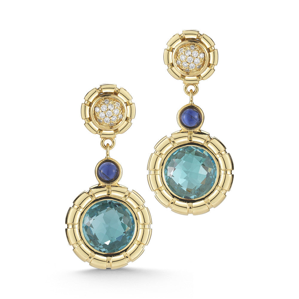 Seahorse Earrings with Blue Topaz - Miseno -  Earring - Ora by D'Amore Jewelers