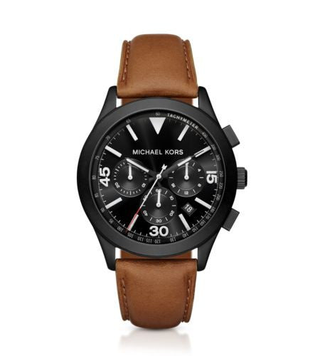 Michael Kors Gareth Black-Tone And Leather Watch - michael kors -  Watches - Ora by D'Amore Jewelers